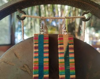 Recycled skateboard earings