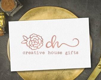 Rose gold logo design, Rose gold blog logo, Rose gold photography logo, Rose gold brand logo, Rose gold website logo, Rose Gold Flower Logo