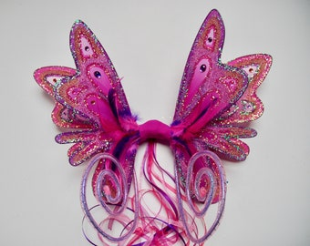 Magical pretty pink and lilac iridescent fairy wings with curly antennae - Fairylove