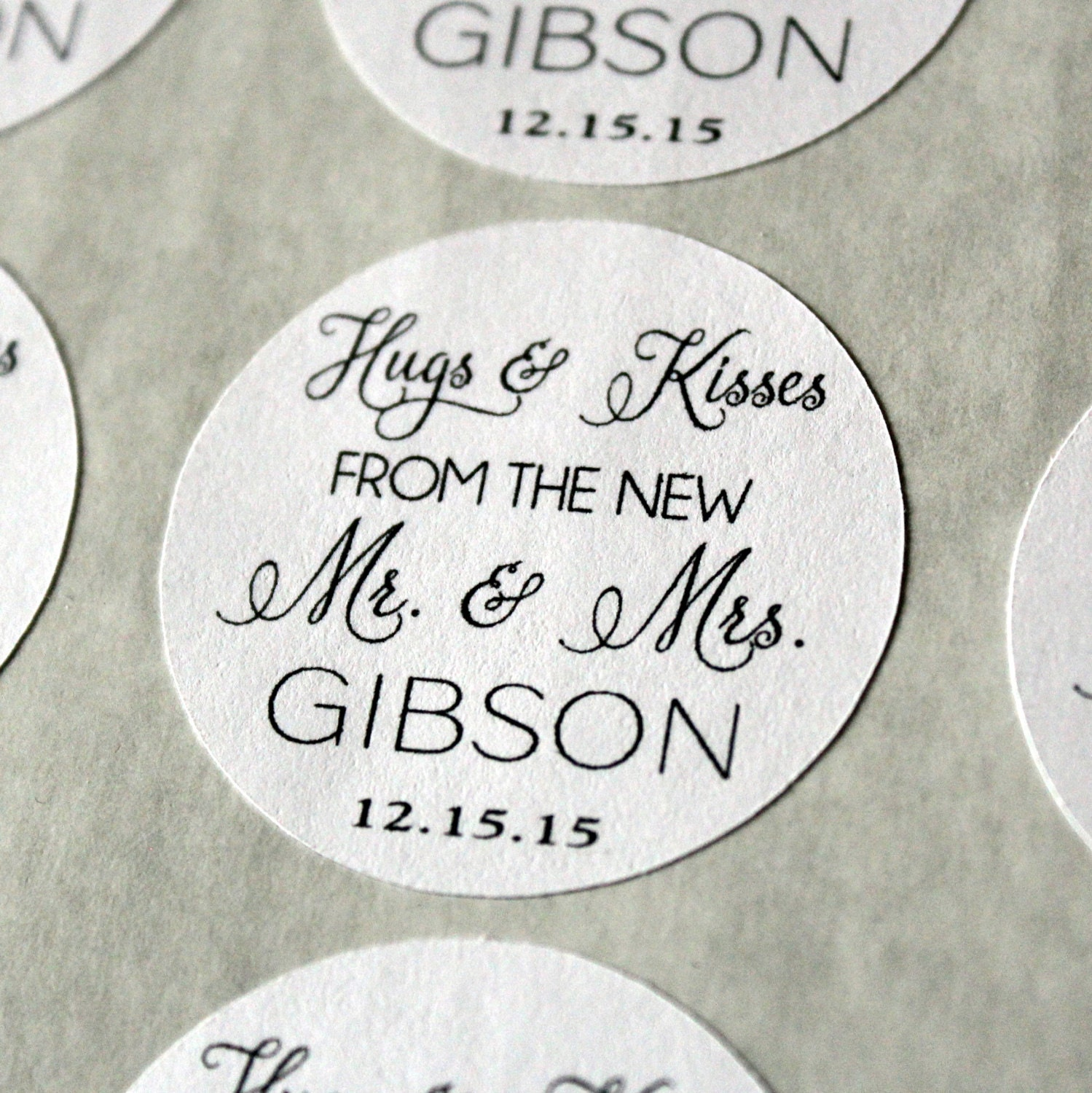 Hugs and Kisses Wedding Favor Stickers Mr. and Mrs. Favor