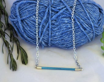 Simple blue metal bar pendant, vintage knitting needle necklace, gift for knitters, handmade upcycled jewellery, sustainable fashion