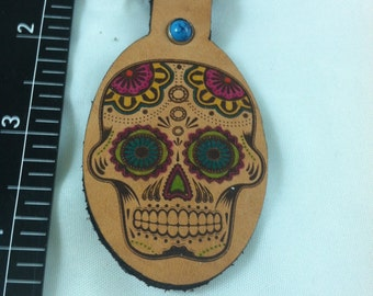 Sugar skull leather key ring day of the dead sku B