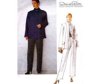 Vogue American Designer 2188 Oscar De La Renta Jacket & High Waisted Pants 90s Vintage Sewing Pattern Size 12 - 14 -16 UNCUT Factory Folds