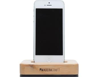 iPhone Docking Station | Bamboo & Carbon Black - iPhone 5 – 5s - 6 – 6s – 7 Docking Station | Bamboo Wood Stand | Gift For Men - Women