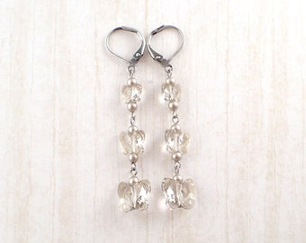 Swarovski Crystal Butterfly Earrings with Antique Silver Lever Backs - Extra Long Dangle Earrings