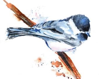 Bird Watercolor Painting Print, Bird Art Print, Chickadee Painting,Bird Print, Animal Watercolor,Blue Bird on a Branch,5x7,8x10, 11x14,13x19