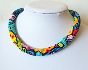 Colorful necklace with geometric pattern - Bead crochet necklace - geometric necklace - multi color necklace - modern art necklace