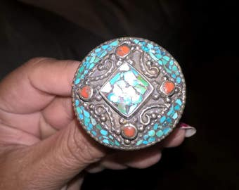 silver ring with turquoise and coral stones