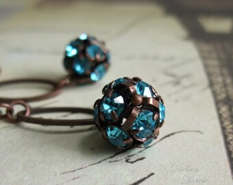 Aqua Crystal Earrings Aquamarine Rhinestone Ball Crystal Ball Copper Earrings