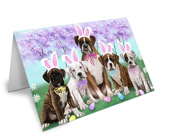 Boxers Dog Easter Holiday Set of 10 Greeting Cards