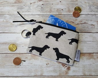 ID card holder | dog lover gift | coin pouch | card wallet | keychain zippered case | earbud pouch | mini wallet | chap stick holder