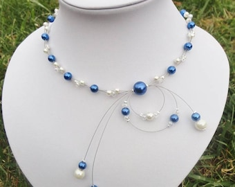 Bridal necklace - bridal necklace - beads glass Pearl and Crystal beads - white or ivory and blue - customizable - nickel free