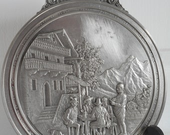 stunning vintage French pewter wall mountable picture / wall plaque