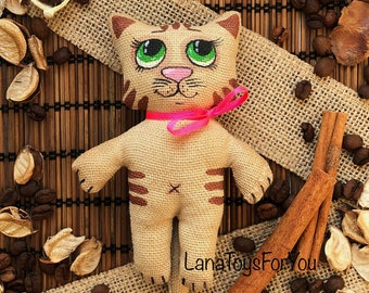 Cat Toy Vanilla Cinnamon Coffee, Cat Toy with Green Eyes, CatToy Sachet Vanilla Cinnamon Coffee, Cute Kitten with Pink Bow