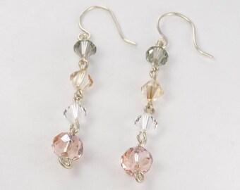 Handmade Earrings Argentium silver earrings, silver and crystal earrings sterling silver dangle earrings Sterling silver jewelry