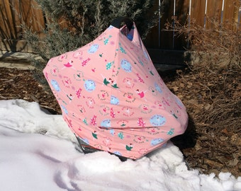 4 in 1 Car seat Cover | Nursing Cover | Infinity Scarf | Grocery Cart Seat Cover | Ballerina | Stretchy Car Seat Cover