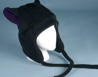 Cat Ear Hat - Black / Aubergine Eggplant Purple Aviator Earflap Hat