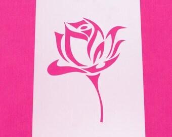 Rose Bud on Stem Flower Mylar Stencil Art Craft Painting DIY Wall Art Airbrush Reusable Various sizes FREE POSTAGE!