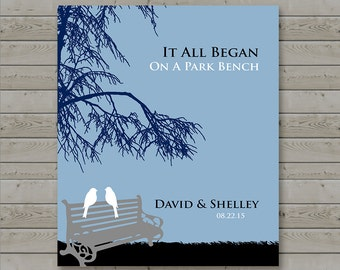 Anniversary Gift - It All Began on a Park Bench - First Anniversary - Wedding Gift - Gift for Couples - Available in any Color