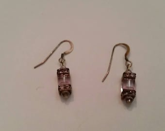 Sterling Silver Earrings Lavender Purple Glass Crystal Rhinestone 925