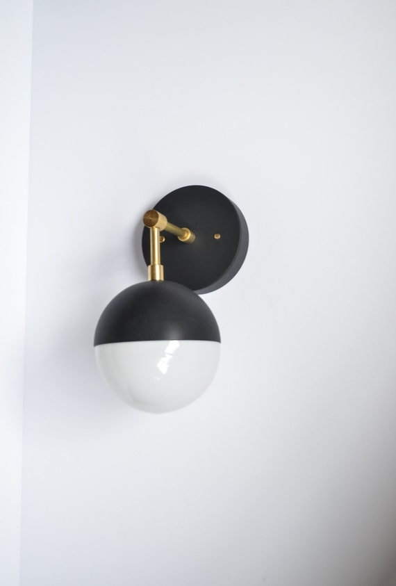 Myrtle U2022 Modern Brass U0026 Black Wall Sconce