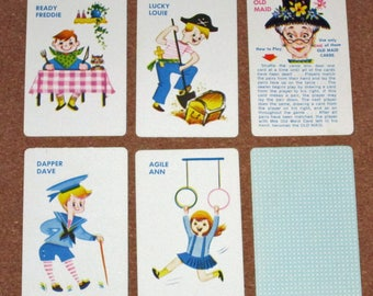 Vintage Old Maid Card Game Playing Cards by Built-Rite