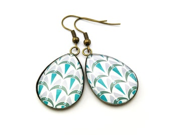 Teardrop earrings - Art Deco Collection - Blue shades - Handmade by Miss Cabochon in France