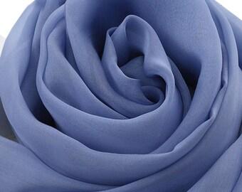 Blue Silk Scarf -  Blue Silk Chiffon Scarf  - AS2015-73