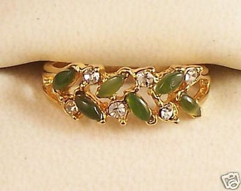 Vintage Jade Marquise and Clear Rhinestone Gold Tone Ring