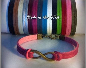 Leather Infinity bracelet, charm bracelet, friendship bracelet