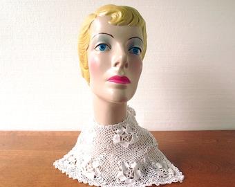 Vintage Crochet Collar | 1920s Dress Collar | Crochet Bib Collar