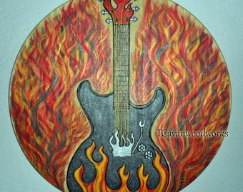 Flame Guitar Painting Electric Art Wall Burned Wood Glitter Guitarist Gifts Fire Guitars