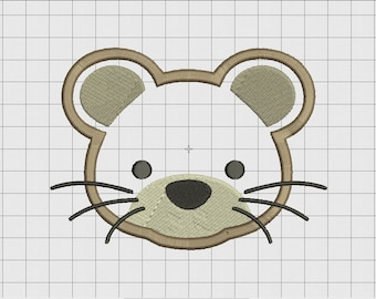Rat Mouse Face Applique Embroidery Design in 3x3 4x4 5x5 and 6x6 Sizes