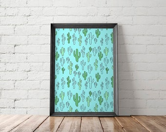 Cactus Poster, Succulent Printable, Cacti Art, Nursery Decor