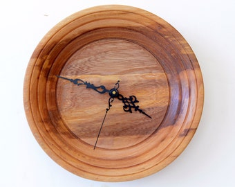 Red Elm Wall Clock, Turned Wood Wall Clock, Special Edge Treatment