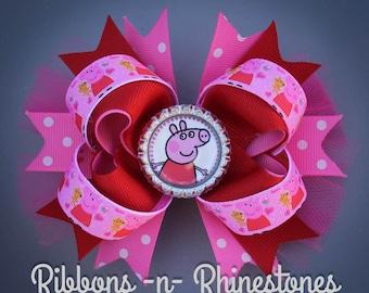 Peppa Pig Bow, Peppa Pig Birthday, Peppa Pig Party, Peppa Pig Boutique Bow, Peppa Pig Birthday Party Bow, Peppa Pig Gift, Peppa Pig Hair Bow