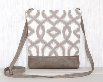 Cross Body Bag, Fabric Hip Purse, Small Zipper Crossbody Pouch - Bannister in Cream and Taupe