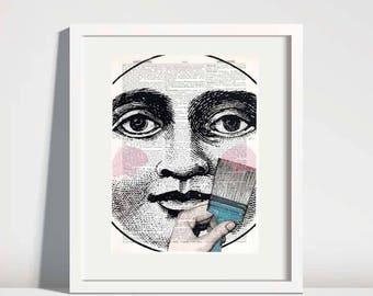 Dictionary Art Print,moon painting,nursery wall decor,kids room art,face wall art,moon face art,vintage book art,moon wall art no 258