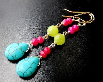 Neon Turquoise Earrings, Colorful Teardrops, Long Boho Drop Earrings