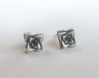 Succulent Studs, Silver Flower Stud Earrings, Sterling Botanical Cactus Jewelry, Handmade Crassula Succulent Jewelry, Silver Stud Earings