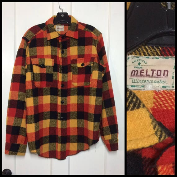 Vintage Red and Black Men's Wool Shirt By Melton, Small