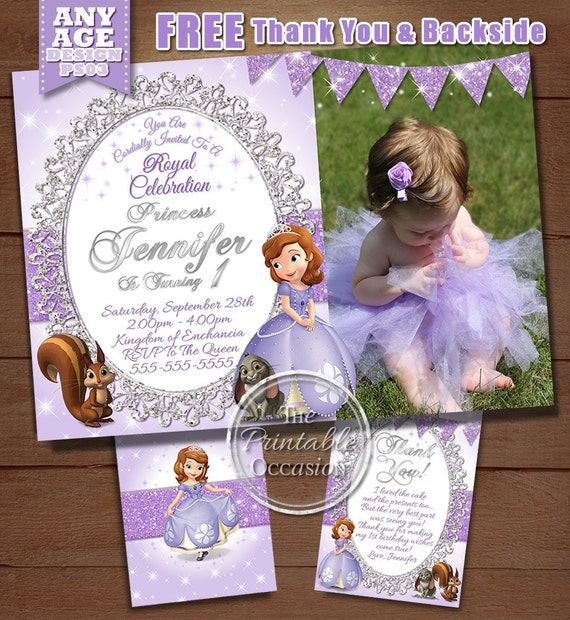 Sofia the first birthday invitation princess sofia birthday filmwisefo Images