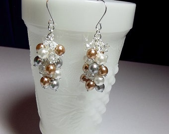 Silver Gold and White Pearl and Crystal Cluster Earrings, Wedding Bridesmaid Jewelry, Christmas Gift, Mom Sister Grandmother Jewelry, Classy