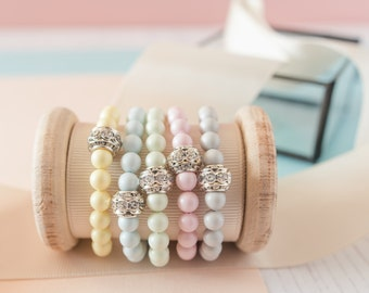 Pastel Bridesmaid Bracelet, Pearl Bracelet, Pastel Bracelet, Pastel Wedding, Bridesmaid Gift, Wedding Gift