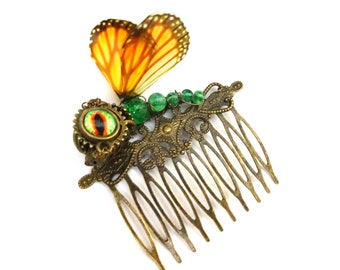 Steampunk dragon fairy monarch butterfly hair comb model 1 round wings