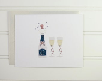 New Years Card, Happy New Year 2019, Champagne Drinker, Champagne Glasses, Champagne Bottle, New Year's, Custom Holiday Cards, 2019, Cheers