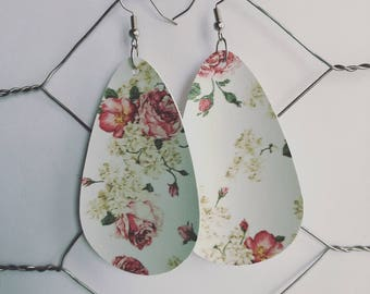 Faux Leather Floral Teardrop Earrings