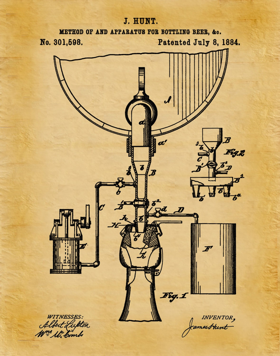 Patent 1884 Beer Bottling Apparatus - Beer Bottling Process - Art ...