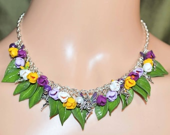 Crocus Flower Fairy Necklace - Handmade Fairy Jewellery Inspired by the Fae, Sidhe, Pagan, Wicca, Spring Flowers