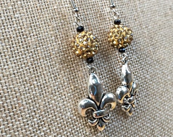New Orleans Saints Jewelry Earrings Football Gold Black Silver Flor de lis Charms Louisiana Bling Dangle Earrings Drew Brees NOLA Who Dat?